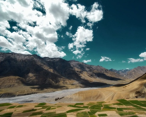 The road to Kibber town in Spiti, Himachal Pradesh, India. This is the highest town in the world. (4,200m above sea level)