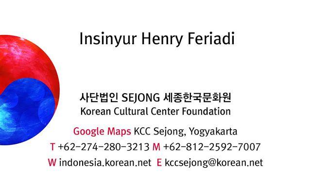 Kartu Nama Keluarga Yayasa KCC Sejong Yogyakarta Indonesia