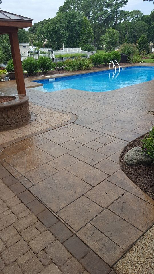 Refinish your Pool Deck with Direct Colors Liquid Colored Antique Concrete Stain. Colors Featured are Aztec Brown, Charcoal and Cafe Royale Antique Stain Sealed with Sprayable Satin Finish Sealer