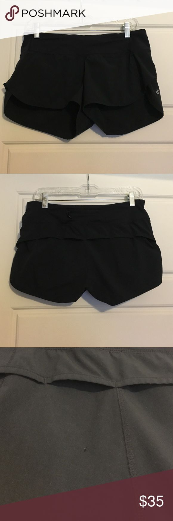 "LuluLemon Speed Short 2.5"" Black Sz 6 2.5"" inseam. Lulu tag has been removed but size located in back zipper pocket. Small pull in fabric on back (see picture). OPEN TO OFFERS :) lululemon athletica Shorts"