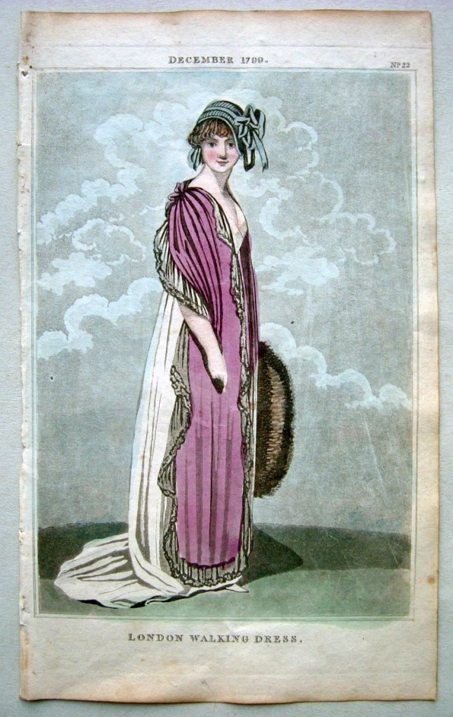 A purple stole with black lace or net edge. 1799 December - walking dress by…