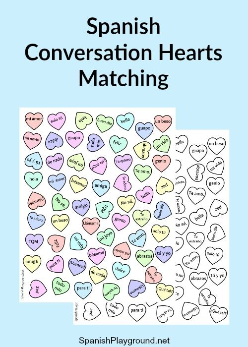 Spanish candy hearts with sayings that can be used in fun language activities. Free hearts printable with 30 sayings, color or BW, and activities.