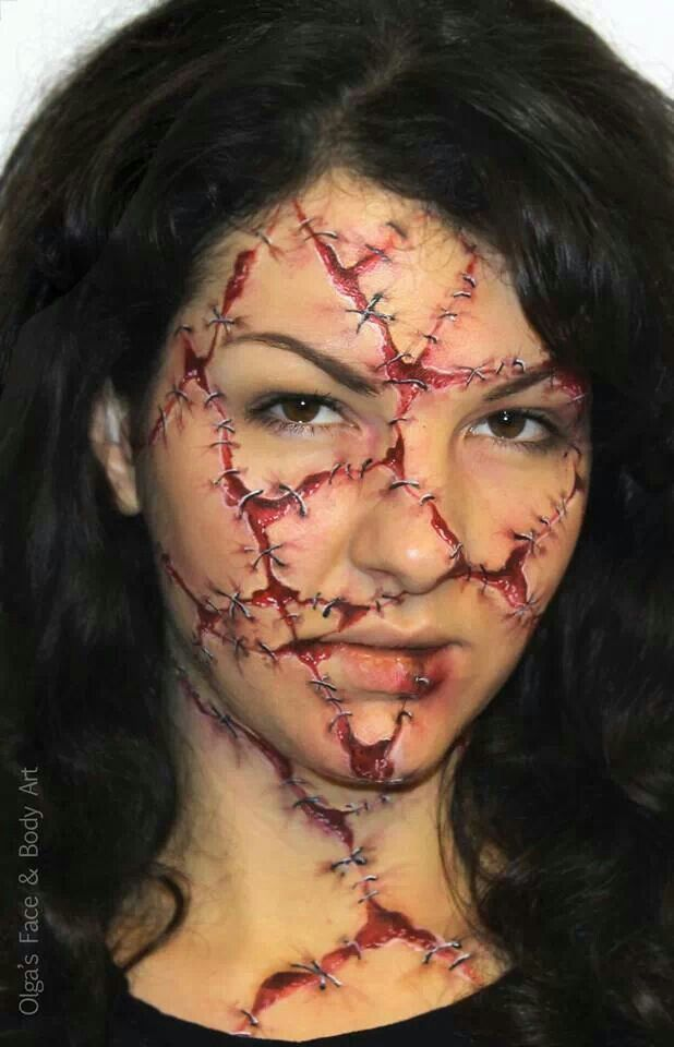 Halloween horror face paint. Ouch! Artist and model Olga Meleca.