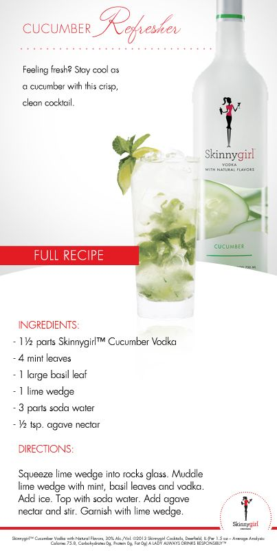 Spa Day with your ladies? Our Cucumber Refresher will go perfectly with that facial and mani/pedi! If you LOVE Skinnygirl™ Vodka with Natural Flavors, find more cocktail recipes here