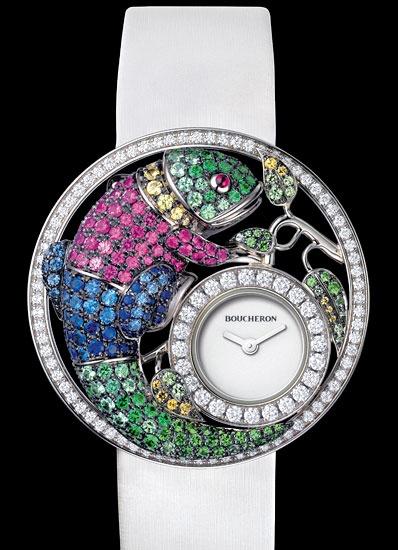 Boucheron's Ajouree Chameleon watch boasts more than 300 diamond, tsavorite and sapphire stones.