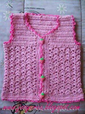 *.:。✿JosyCrea✿.。.:* Tejido a Crochet y Más!: Chaleco sin manga bebé PAP