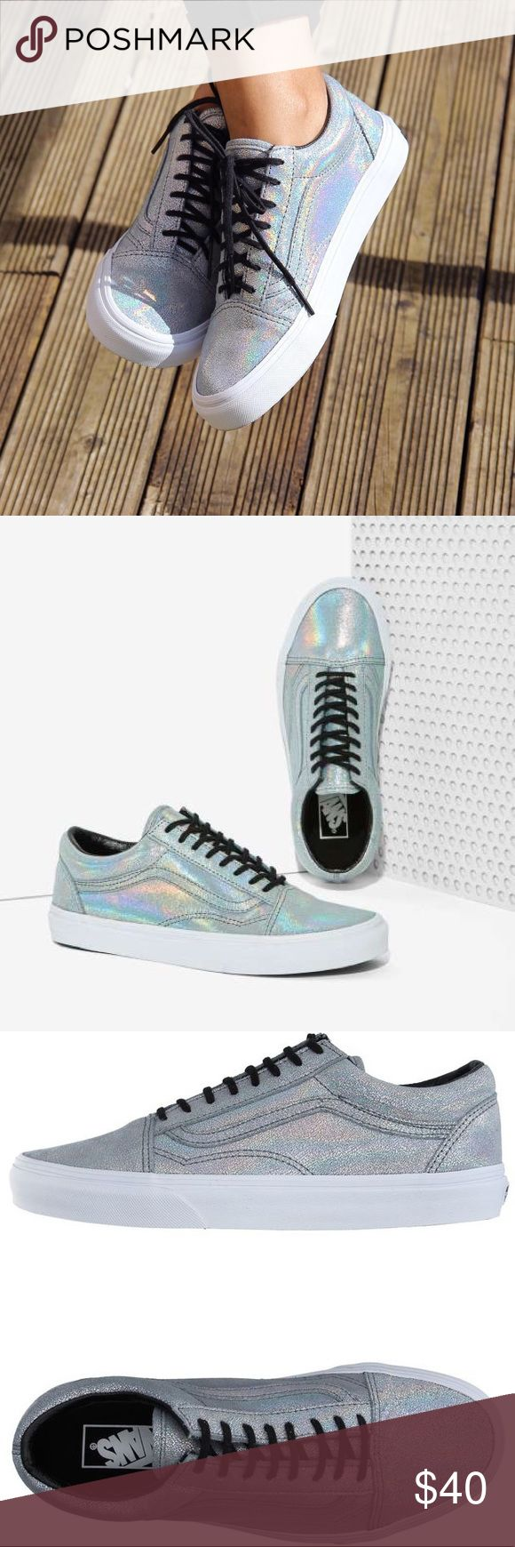 """Vans Old Skool Holographic Hologram Holo Sneakers Excellent used condition. Worn 2-3x only. Labeled """"women's size 8 / men's size 6.5"""". Details include """"matte iridescent silver"""" material, 1"""" block heel and lace closure. I currently have holographic laces on one show and the original black on the other, but I will send both to the buyer. Pics 1-2 are stock. Pics 3-8 are actual item. I ALSO HAVE AN AWESOME HOLOGRAPHIC BAG FOR SALE IN MY CLOSET, so you can bundle for a discount! 👍🏻 Please feel…"""