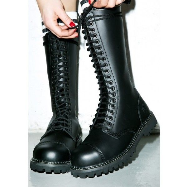 Grinders King Boots (£88) ❤ liked on Polyvore featuring shoes, boots, safety toe shoes, steel toe boots, front lace up boots, leather boots and leather shoes