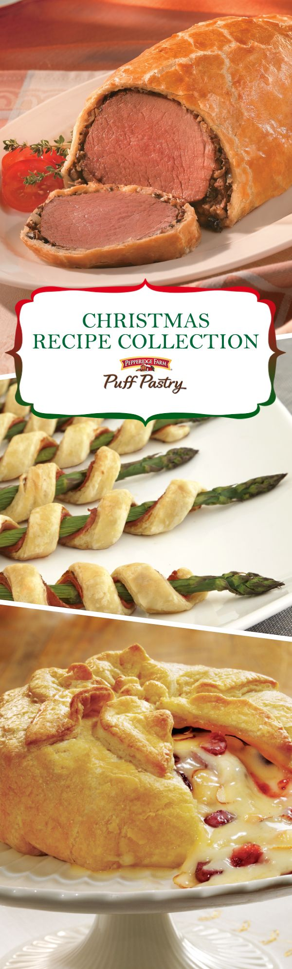 Pepperidge Farm Puff Pastry Christmas Recipe Collection. Celebrate the holiday season with these favorite dishes. From appetizers to main dishes and desserts, this collection has everything you need for hosting friends and family. Serve cocktails with Brie en Croute and Asparagus Prosciutto spirals, make an elegant dinner with Beef Wellington or bring a special dessert to the office potluck. Make Christmas extra merry and bright with some lovingly baked treats.