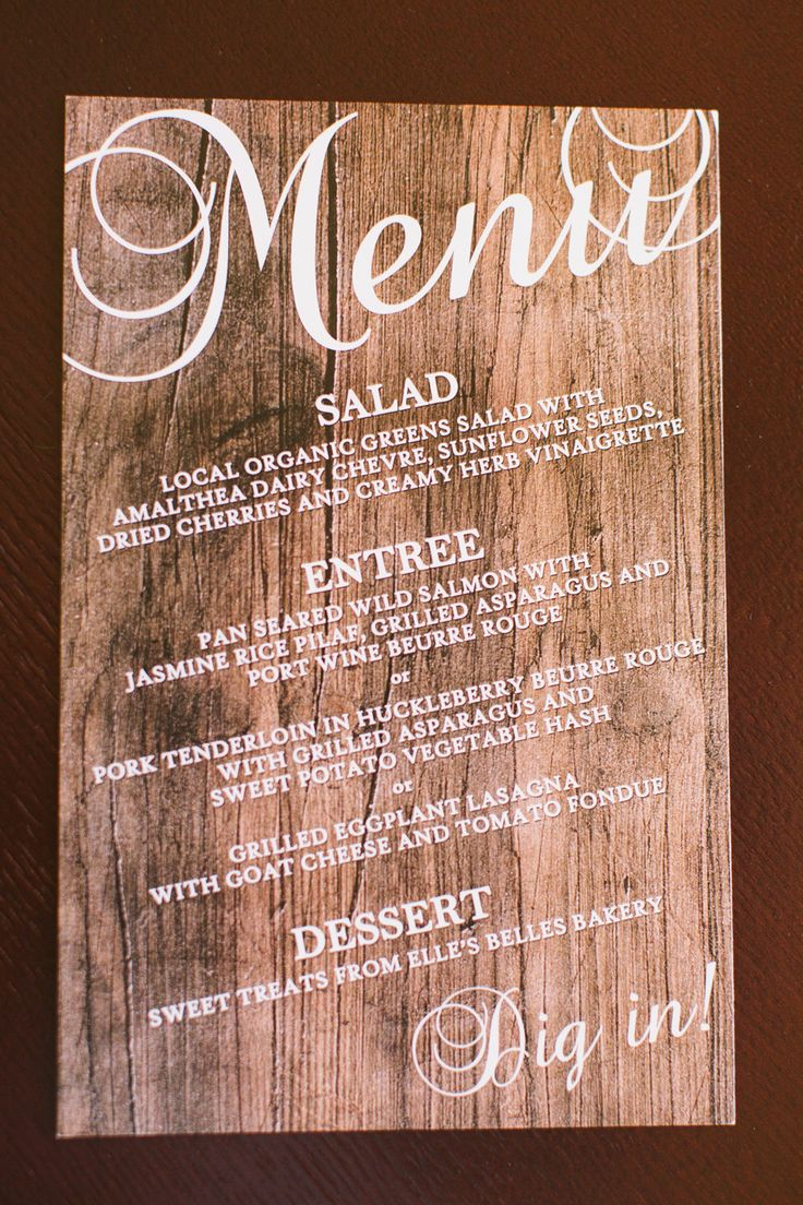 Wooden Menus -- See more of the wedding on #smp here: http://www.StyleMePretty.com/northwest-weddings/2014/04/11/montanta-mountain-destination-wedding/ CluneyPhoto.com