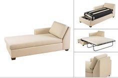 space efficient chaise with full size pull-out bed @ La Vie Furniture