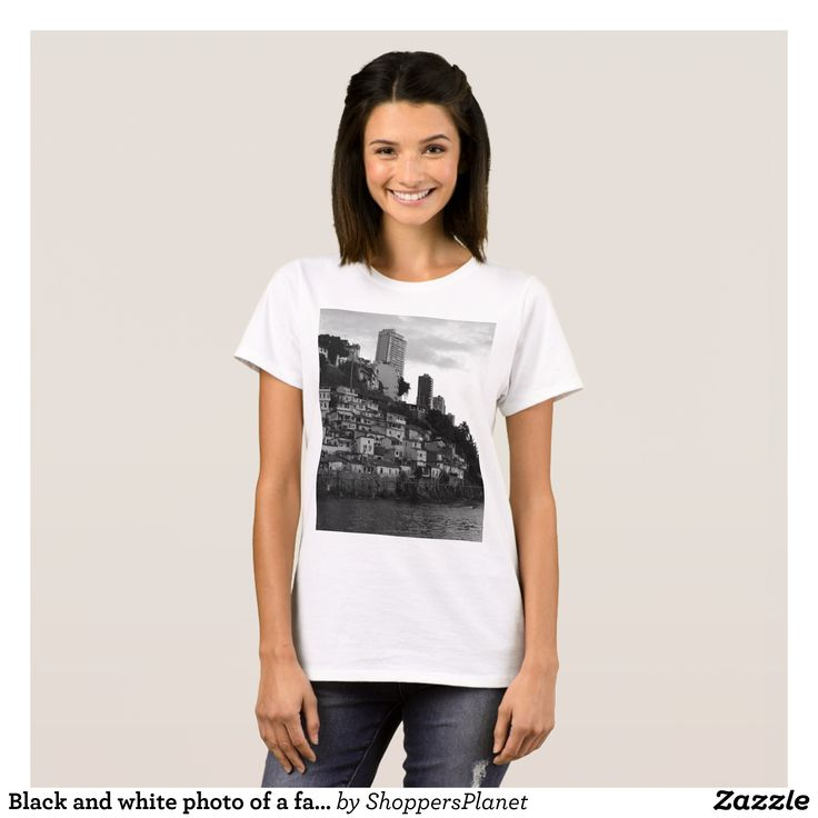 Black and white photo of a favela Rio Brazil T-Shirt - Fashionable Women's Shirts By Creative Talented Graphic Designers - #shirts #tshirts #fashion #apparel #clothes #clothing #design #designer #fashiondesigner #style #trends #bargain #sale #shopping - Comfy casual and loose fitting long-sleeve heavyweight shirt is stylish and warm addition to anyone's wardrobe - This design is made from 6.0 oz pre-shrunk 100% cotton it wears well on anyone - The garment is double-needle stitched at the…