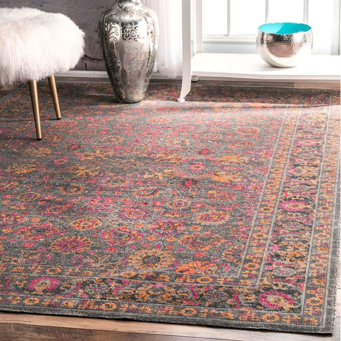 Khalil Pink Gray Area Rug With Images Grey Area Rug Area Rugs