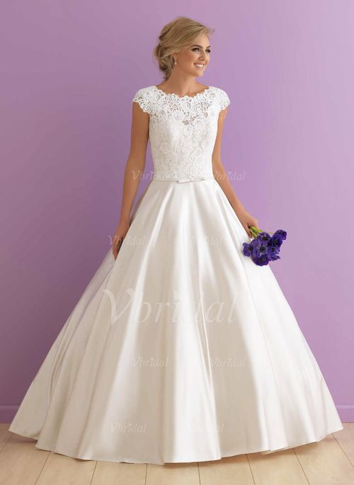 Ball-Gown Scoop Neck Chapel Train Satin Wedding Dress With Appliques Lace (0025097102) - Vbridal