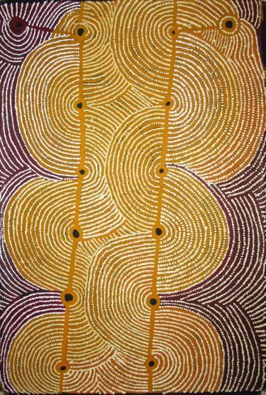 Something that I learned about aboriginal art is that each painting tells a story. The painting is how they pass on knowledge. It's not just random lines and squiggles. Hector Tjupuru Burton ~ Anumara Tjukurpa, 2009 (Australian aboriginal art)