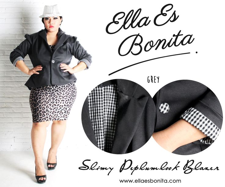 Slimmy Peplumlook Blazer - This vintage blazer features high quality thick stretch twil which specially designed for sophisticated curvy women originally made by Indonesian Designer & Local Brand: Ella Es Bonita. Available at www.ellaesbonita.com