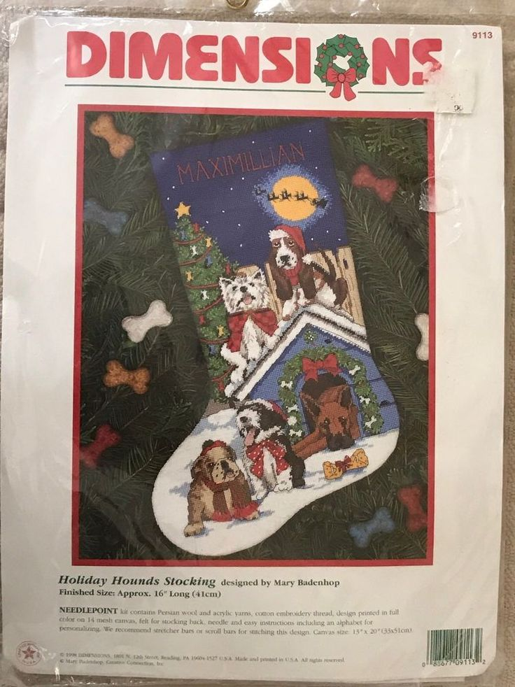 Dimensions Holiday Hounds Christmas Needlepoint Stocking Kit Dog Puppy OOP New  | eBay
