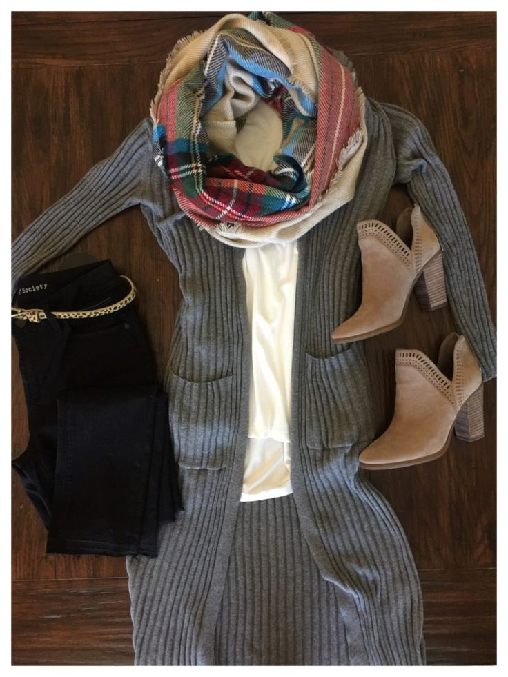 Black jeans, long grey cardi, and  plaid scarf.