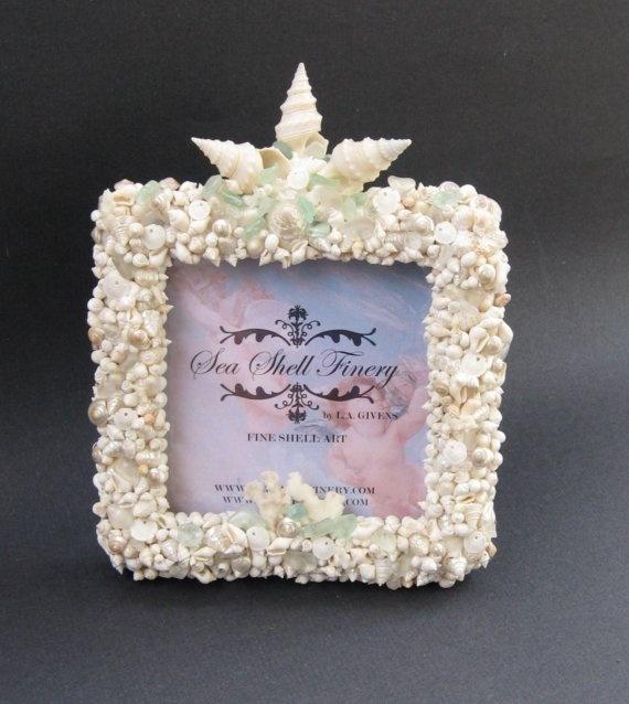 5 x 5 WHITE GROTTO Fine Shell Art Photo Frame BEACH COTTAGE, ROMANTIC, COASTAL, SEA SHELL FINERY via Etsy