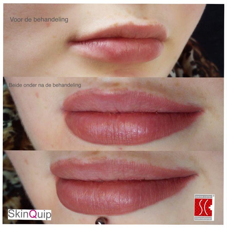 Dit model wilde heel graag een ultra lichte pigmentatie die meer als een correctie zou werken op de lichte/witte vlekken in haar lippen. Door deze natuurlijk te vullen vallen deze plekken niet meer op en lijkt de lip voller en zachter. Eerste keer plaatsen door student.