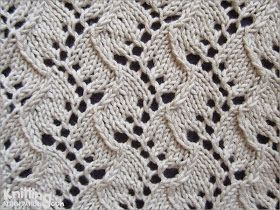 Lace Knitting Stitch   Traveling Vine pattern   knittingstitchpatterns.com