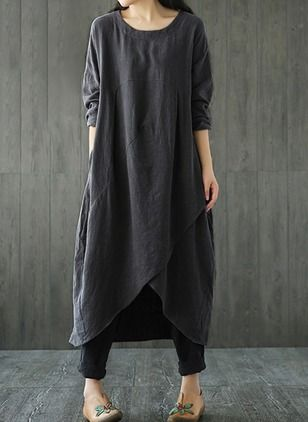 Solid Pockets Long Sleeve Midi Shift Dress (1204258)  c3e897a5e