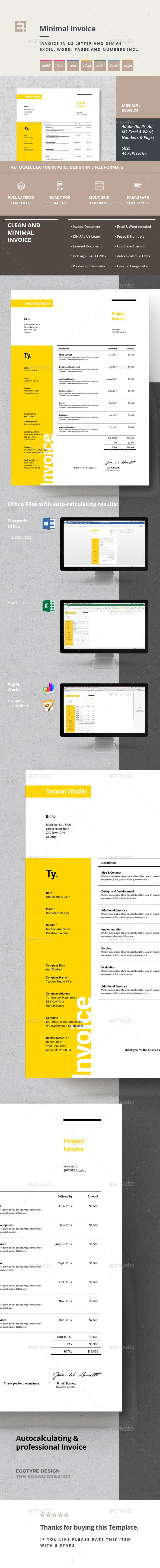 Minimal and Professional Invoice Template PSD, AI, EPS, XLSX, XLS, DOCX & DOC