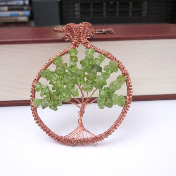 peridot tree of life pendant peridot tree of life necklace fashion style boho gifts for her by FloralFantasyDreams