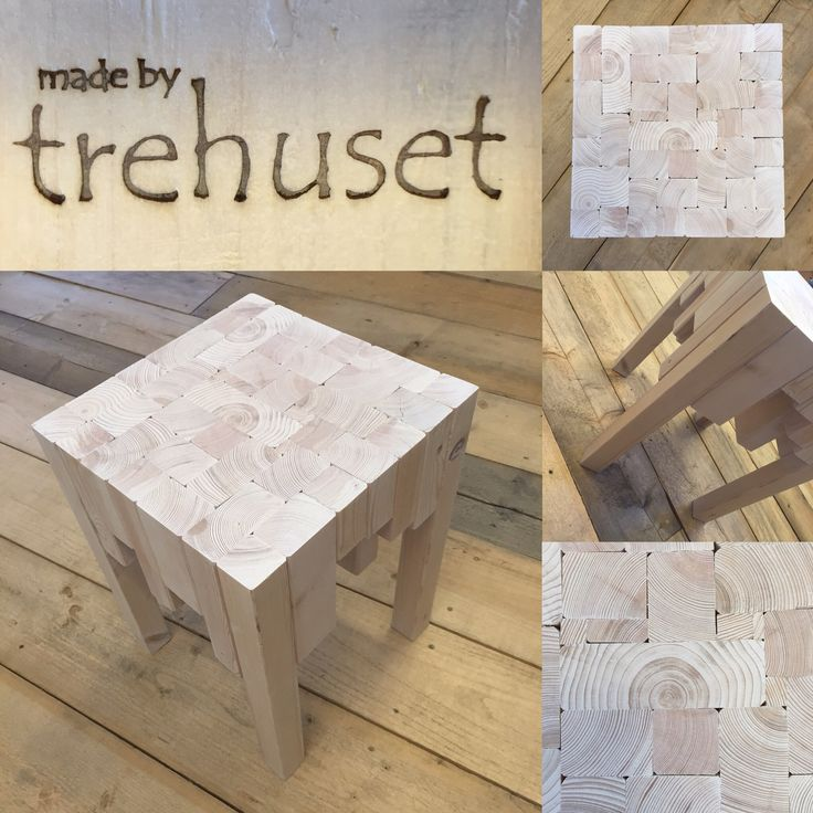 Solid wooden table or chair, made by trehuset.