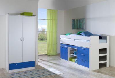Relita Set: Bonny, Hochbett und Kleiderschrank, 2 Türen, weiß/blau Jetzt bestellen unter: https://moebel.ladendirekt.de/kinderzimmer/betten/hochbetten/?uid=d901ef4f-1afb-5ef9-896d-051ca14bc196&utm_source=pinterest&utm_medium=pin&utm_campaign=boards #kinderzimmer #kleinkindmöbel #hochbetten #betten