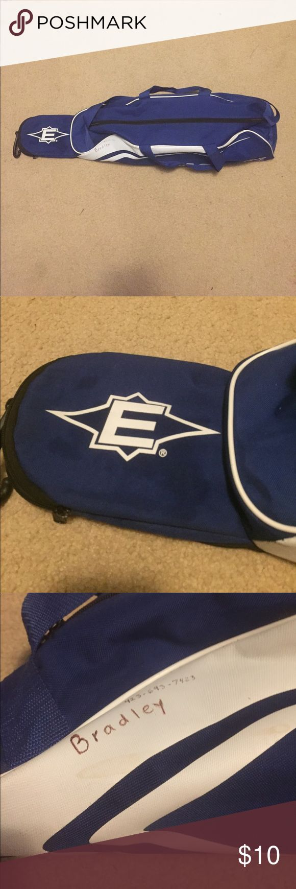 Baseball equipment bag Has been used. Has some dirt stains from use. A name has also been written on it. Other than that it is in good condition. No tears or holes. Open to price offers and trades. Easton Bags