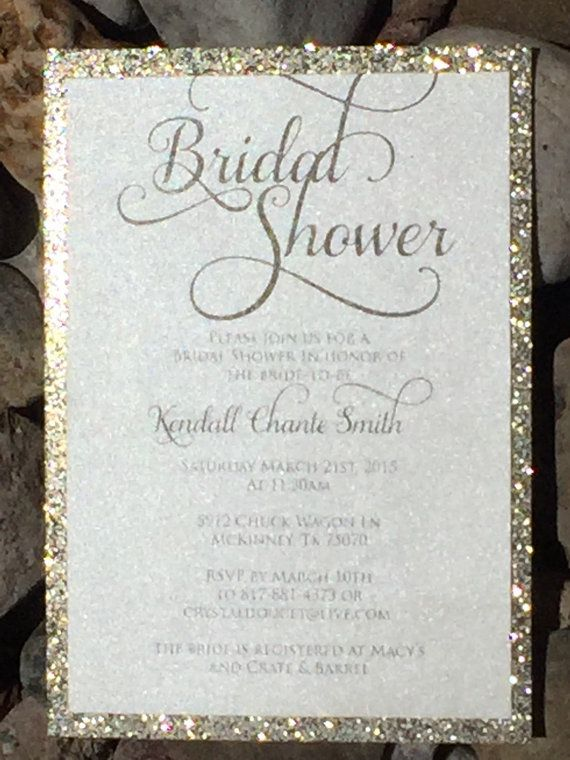 A die cut shaped bridal shower invitation with a glitter cardstock backing and shimmer envelopes. Customize it with your choice of colors,