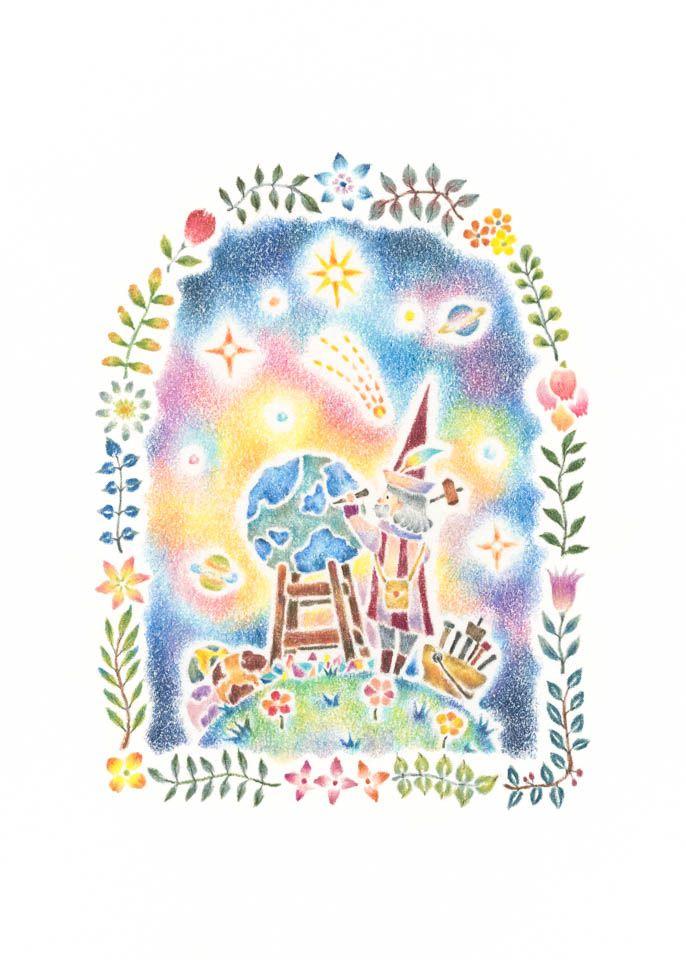 """""""Star Maker"""" −RiLi, picture book, illustration, design ___ """"星の創り手"""" −リリ, 絵本, イラスト, デザイン ...... #illustration #star #イラスト #星"""