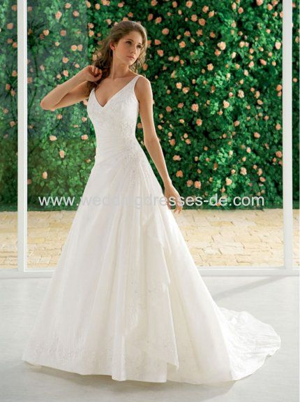 Maybe not as long, but... love this v neck wedding dress