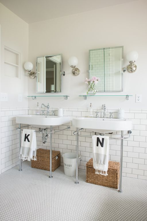 Traditional Full Bathroom with penny tile floors, Daltile Retro Rounds Bold White Matte Mosaic TIle, Console Sink