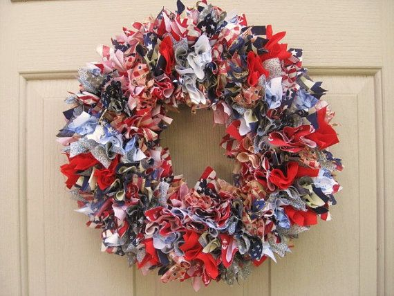 Rag Wreath Made With Straw Wreath Form And Pushed In Squares Of Fabric Fabric Wreath