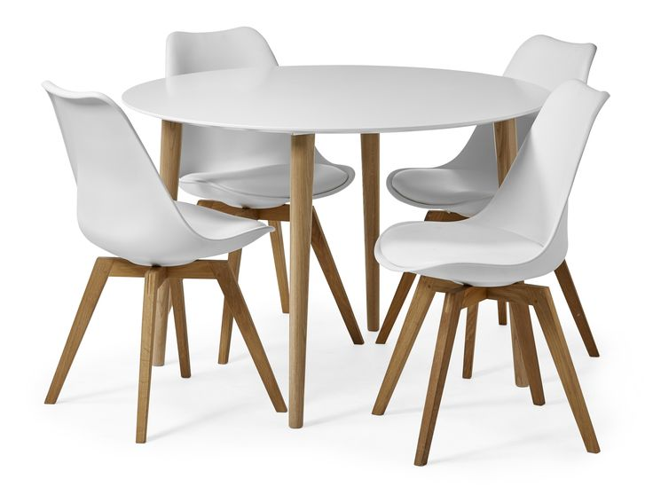 Plaine matbord med skiva i lättskött vitlack, inkl. Anton stolar i polypropylen med sits i konstläder. Plaine är vår moderna klassiker som aldrig går ur tiden.
