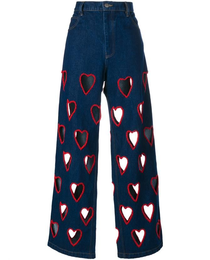 ASHISH Cut-Out Heart Flared Jeans >>http://bit.ly/1PPqxGB
