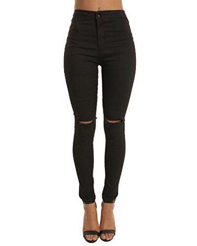462b0a18c4 Pantalones de mujer Skinny Jean Cintura alta Jegging Pantalones elásticos  Casual