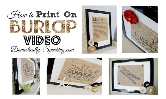 Awesome Video sharing Tips & Tricks for Printing on Burlap. So much easier to watch how to do it than to understand a text tutorial!