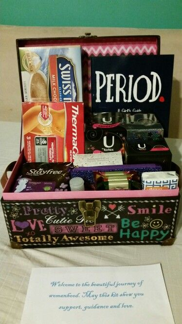 First Period Kit. Period book, tween liners, tween pads,  overnight pads, cleansing wipes, hand sanitizer, tissues, to go bag for school, headbands, heat packs,  hot chocolate,  chocolate
