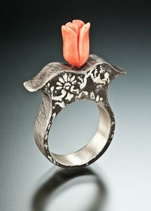 Lora Hart Venice, CA Toolip 40mm x 28mm x 7mm Fine silver clay, hollow construction, coral