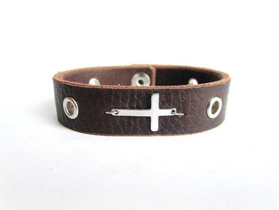 Men's cross bracelet men's leather bracelet men by Bravemenjewelry