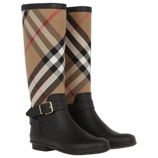 Burberry Boots & Booties - Simeon Belted Rain Boots Housecheck Black -... ($310) ❤ liked on Polyvore featuring shoes, boots, ankle booties, block-heel boots, wellington boots, wellies boots, black buckle boots and black boots