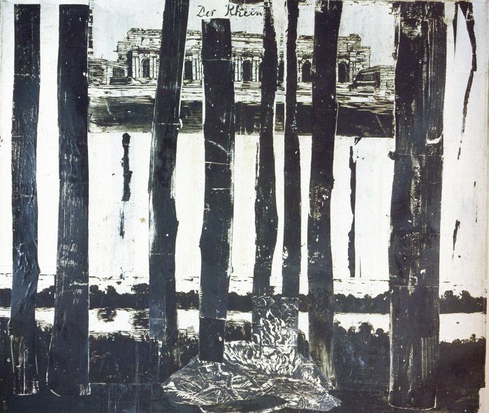 """Der Rhein 1982 Woodcut in several parts on blotting and handmade paper, mounted on canvas 300 x 380 cm 118 x 150"""""""