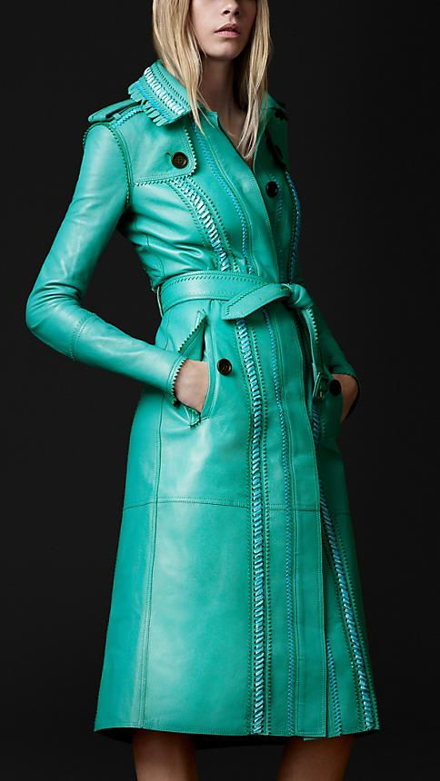 Burberry turquoise trench coat.
