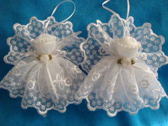 Bianco Angeli merletto handmade ornamento decorazione regalo