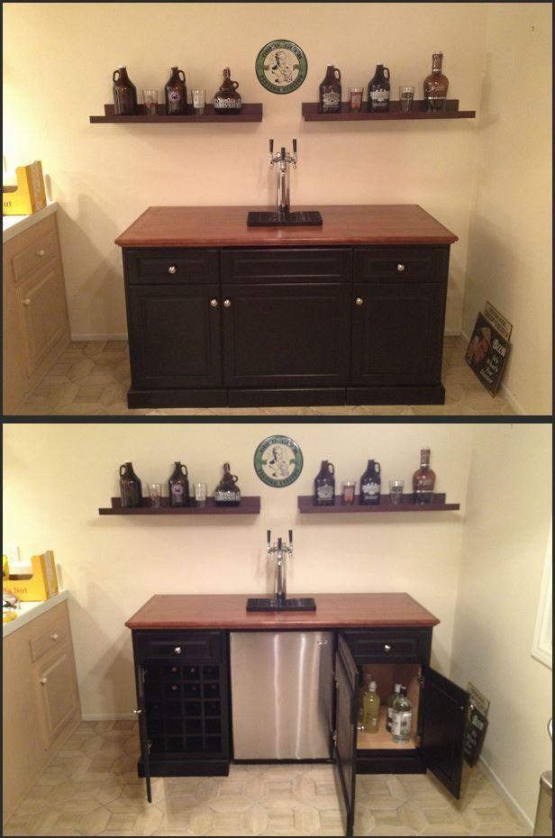Kegerator Bar Setup Click Through For Some More Pictures On The Design Process Kegerator Cabinet Bars For Home Kegerator Bar
