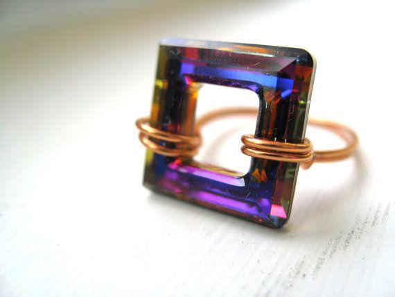 Swarovski statement Ring Copper Violet Electric Blue by Vitrine