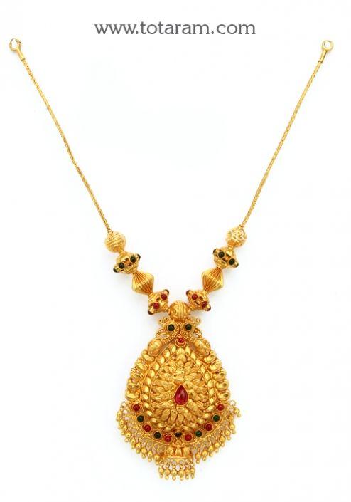 22K Gold 'Peacock' Necklace (Temple Jewellery): Totaram Jewelers: Buy Indian Gold jewelry & 18K Diamond jewelry